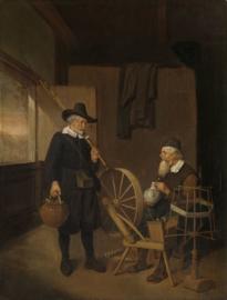 Van Brekelenkam, Interieur met visser en man bij spinnewiel