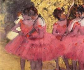 Degas, Ballerina`s in het roze tussen de coulissen