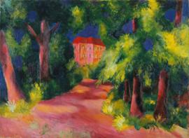 Macke, Rood huis in het park