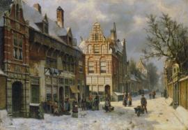 W. Koekkoek, Stadsgezicht in de winter 2