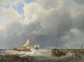 H. Koekkoek, Kustscene met vissersboten