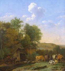 Potter, Landschap met vee bij een schuur