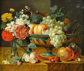 De heem, Fruitschaal met bloemen