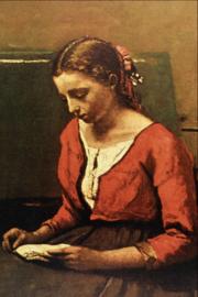 Corot, Lezend meisje met rood vest