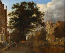 Van der Heyden, gefantaseerd Amsterdams stadsgezicht met gracht