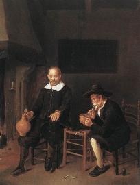 Van Brekelenkam, Interieur met twee mannen bij het vuur