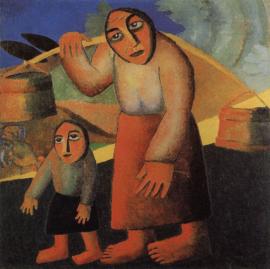 Malevich, Boerenvrouw met emmers en een kind