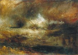 Turner, Stormachtige zee met brandend wrak