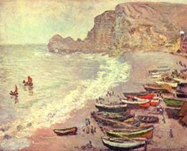 Monet, Etretat, het strand en de haven van d`Amont