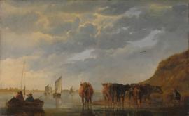 Cuyp, Een herder en 5 koeien bij een rivier