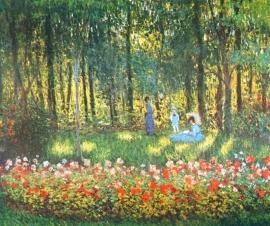Monet, The artist`s family in the garden