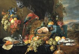 De Heem, Een rijk bedekte tafel met papegaai