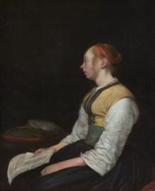Ter Borch, Zittende jonge vrouw in het kostuum van een boerenmeisje
