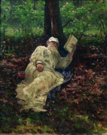 Repin, Tolstoj rust uit in het bos