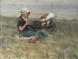 Blommers, Breiend meisje met zusje in de duinen