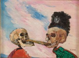 Ensor, Skeletten bekvechtend om een bokking