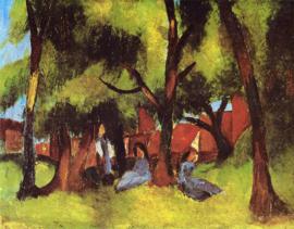 Macke, Kinderen onder bomen in de zon