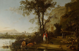 Cuyp, Landschap met ruiter, mensen en vee