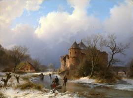 B.C. Koekkoek, Een kasteel in een winterlandschap