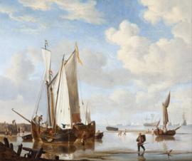Van de Velde, Een wijdschip en een kaag in een inham