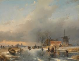 Schelfhout, Winterlandschap met molen en woningen