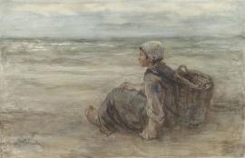 J. Israëls, Vissersmeisje op het strand