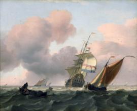 Bakhuysen, Woelige zee met schepen