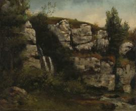 Courbet, Landschap met rotskliffen en een waterval