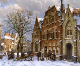 W. Koekkoek, Winterscene in Oudewater