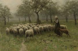 Mauve, Herderin met een kudde schapen