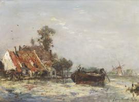 Jongkind, Huizen aan een vaart bij Crooswijk
