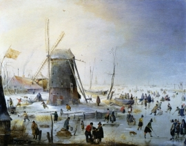 Avercamp, Winterlandschap met een windmolen