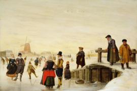 Avercamp, Personen schaatsend in een Nederlands landschap