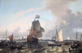 Bakhuysen, Het oorlogsschip Brielle op de Maas voor Rotterdam