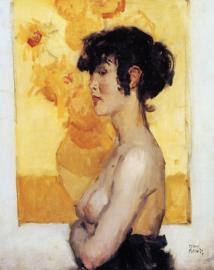 I. Israëls, Vrouw en profil voor de zonnebloemen van Van Gogh