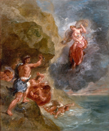 Delacroix, De winter, Juno smeekt Aeolus om Odysseus' vloot te vernietigen