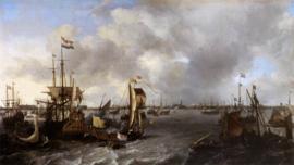 Bakhuysen, Gezicht op Amsterdam met schepen op het IJ