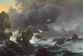 Bakhuysen, Schepen in moeilijkheden bij een rotsachtige kust