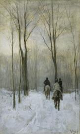 Mauve, Ruiters in de sneeuw in het Haagse Bos