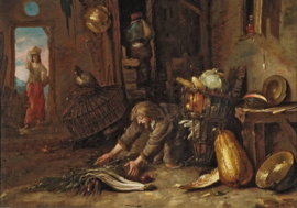 Kalf, Boerderij-interieur met knielende man