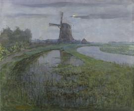 Mondriaan, Oostzijdse molen aan het Gein bij maanlicht