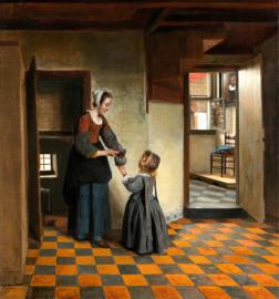 De Hooch, Een vrouw met kind in een kelderkamer