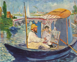 Manet, Claude Monet in zijn atelierboot