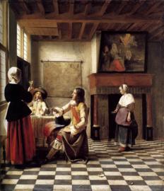 De Hooch, Vrouw met twee mannen en dienstmeid