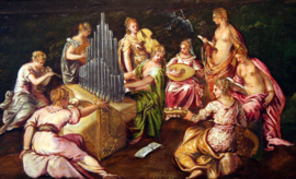 Tintoretto, De twist tussen de Muzen en en de Pieriden