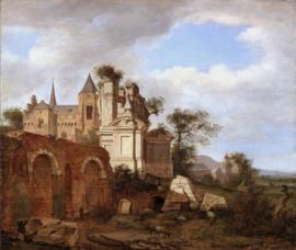 Van der Heyden, Landschap met een Romaanse kerk