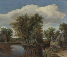 Hobbema, Landschap met water en bomen