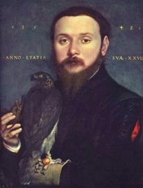 Holbein, Portret van een edelman met havik