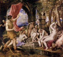 Titiaan, Aktaion verrast Diana bij het baden