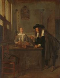Van Brekelenkam, Interieur met een kantwerkster en een bezoeker